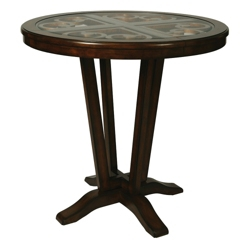 "Traditional Wood Frame Glass Top Standing Height Table - 42"" Diameter, 41687"