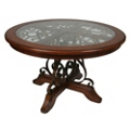 """Glass Top Metal Accent Round Conference Table - 54"""" Diameter, 41690"""