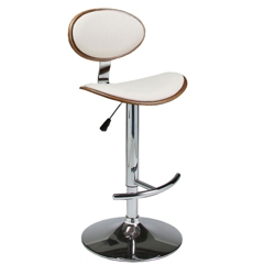 Modern Wood Veneer Back Faux Leather Barstool, 44265