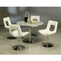"""Modern Glass Round Conference Table and Chairs Set - 44"""" Diameter, 45006"""