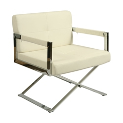 Modern Chrome Frame Faux Leather Club Chair, 75639