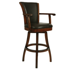 "Traditional Wood Frame Leather Barstool with Arms - 26""H, 75651"
