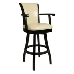 "Traditional Wood Frame Leather Barstool with Arms - 30""H, 75650"