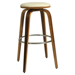 "Modern Wood Veneer Frame Faux Leather Barstool - 30""H, 75656"