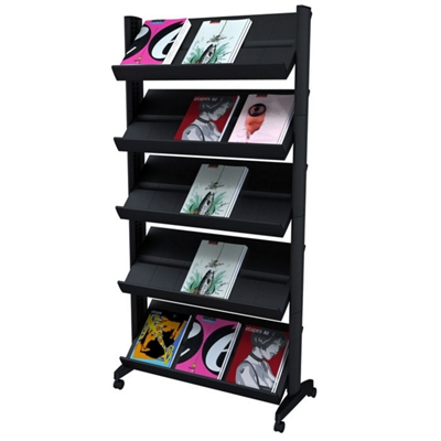 Gentil Mobile Literature Rack With Five Shelves, 33387