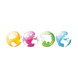 Set of Four Globes Decal, 82509