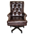 Scroll Arm Tufted Leather Desk Chair, 55022