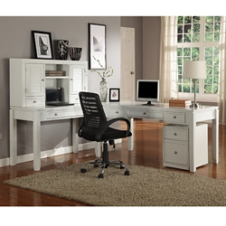 "L-Desk with Hutch and File - 77""W, 14905"
