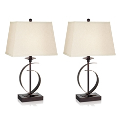 Set of Two Rectangular Shade Table Lamps, 92066