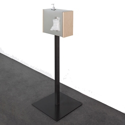 "Stainless Steel Standing Tissue Dispenser with Wood Sides - 42""H, 82046"