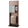 "Stainless Steel Sanitation Station with Wood Tone Frame - 42""H, 82050"