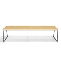 "Slat Armless Bench with Sled Base - 72""W, 82491"