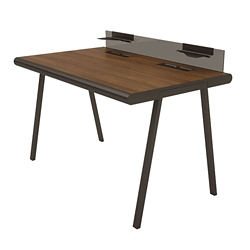 "Desk with Glass Privacy Tray - 60""W, 14576"