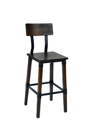 Two-Toned Stool with Wooden Back, 220038