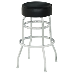 Vinyl Barstool with Black Frame and Foot Ring, 50859