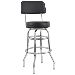 Vinyl Barstool with Black Frame and Back Rest, 50861