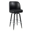 Large Vinyl Barstool with Four Black Legs and Bucket Back, 50867