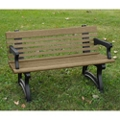 "Recycled Plastic Outdoor Bench with Back and Arms - 48""W, 82724"