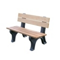 Recycled Plastic Outdoor Bench with Economizer Traditional Back 4', 85156