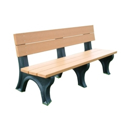 Recycled Plastic Traditional Outdoor Bench with Back 6', 85168