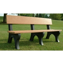 Landmark Plastic Recycled Bench with Back 6', 85329