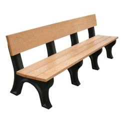 Landmark Plastic Recycled Bench with Back 8', 85331