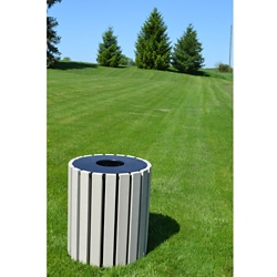 Round Trash Receptacle 33 Gallon Capacity, 85667