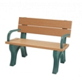 Recycled Plastic Economy Outdoor Bench with Back and Arms - 4 Ft, 87779