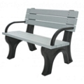 Recycled Plastic Outdoor Flat Bench with Arms - 4 Ft, 87785