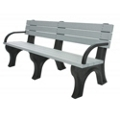 Recycled Plastic Outdoor Flat Bench with Arms - 6 Ft, 87786