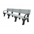 Recycled Plastic Outdoor Flat Bench with Arms - 8 Ft, 87787