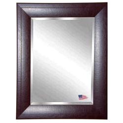 "25.7""H x 21.7""W Leather Frame Beveled Mirror, 87423"