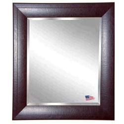 "35.7""H x 29.7""W Leather Frame Beveled Mirror, 87425"