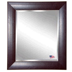 "45.7""H x 39.7""W Leather Frame Beveled Mirror, 87427"