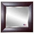 "35.7""H x 35.7""W Leather Frame Beveled Mirror, 87429"