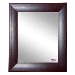 "39""H x 33""W Leather Frame Wall Mirror, 87436"