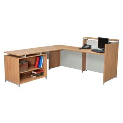Reception L-Desk with Open Shelf Return, 13342