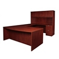 "Solutions Bowfront U-Desk with Right Bridge and Hutch - 71""W, 13967"
