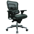 Mid Mesh Back Leather Seat Chair, 55049