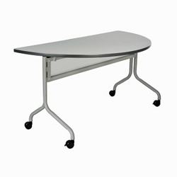 "Half-Round Mobile Training Table - 48"" x 24"", 41829"