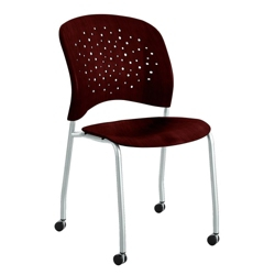 Plastic Wood Guest Chair with Casters, 44669
