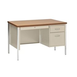 "Lockable Compact Steel Single Pedestal Desk - 45""W, 13806"