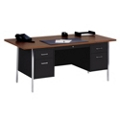 "Lockable Steel Double Pedestal Desk - 72""W, 13807"