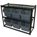 "6 Bin Steel Shelving Unit - 42""W x 16""D x 33""H, 36234"