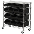 "15 Bin Mobile Chrome Shelving Unit - 33""W x 16.5""D x 38""H, 36235"