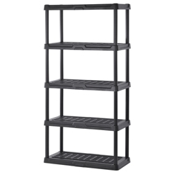"5 Tier Plastic Shelving Unit - 36""W x 24""D x 72""H, 36238"