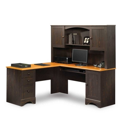 Exceptional Corner L Desk With Hutch And Reversible Storage, 13400