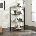 "Open Shelving with Silkscreened Glass Shelves - 28""W x 13""D x 52""H, 220203"
