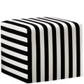 Striped Cushioned Fabric Ottoman, 220097