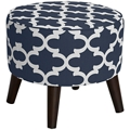 Fabric Ottoman With Tapered Legs, 220100